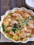 小松菜とえのきと鶏肉のとろーりかき卵煮