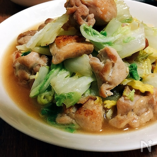 大量消費★白菜と鶏もも肉のガーリック炒め