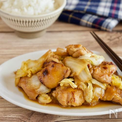 白菜と鶏肉の甘辛にんにく炒め【子どもと一緒に料理】