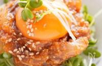 【ご飯がすすむ!】卵黄と絡ませる♩アジのごま味噌ユッケ丼