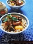 穴子と栗とシメジの秋の炊き込みご飯