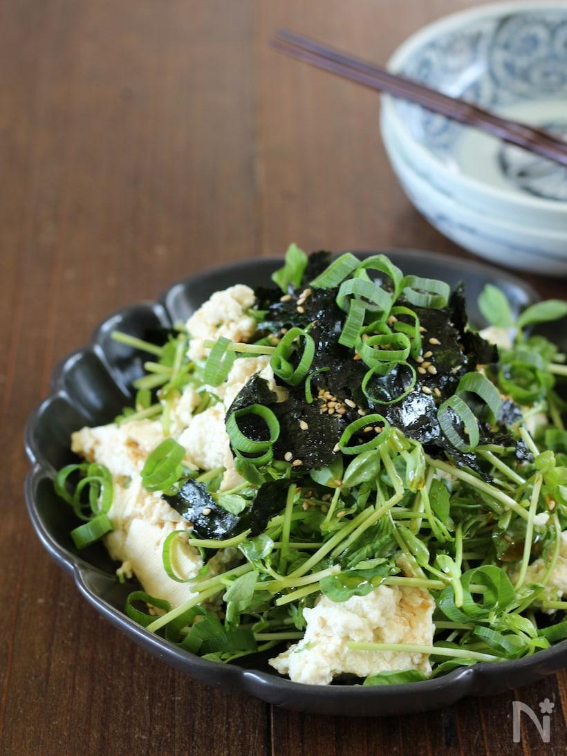 黒いお皿にのった豆苗のチョレギサラダ
