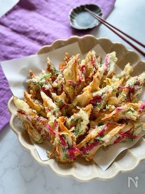 天ぷら粉を使って簡単にあと一品!青紫蘇と紅生姜のちくわ天