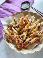 天ぷら粉を使って簡単にあと一品! 青紫蘇と紅生姜のちくわ天