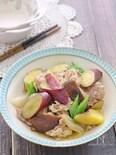 フライパンで簡単炒め煮♪豚肉とさつまいもの煮物