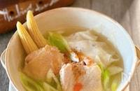 ほろほろ鶏肉と大根ワンタンスープ♪