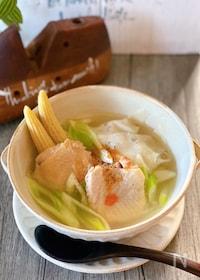 『ほろほろ鶏肉と大根ワンタンスープ♪』