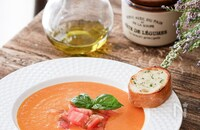 冷たいトマトのポタージュスープ【バターチキンカレーアレンジ】