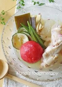 『夏バテにも。鶏肉と夏野菜の冷やしおでん』