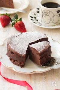 土台なしでもおいしいチョコチーズケーキ(グルテンフリー)