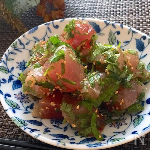 ピリッと美味しい♡大葉まみれのまぐろの柚子胡椒和え