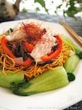 パリパリ麺de海鮮と野菜白餡掛け