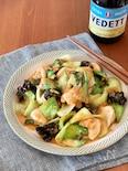 鶏むね肉と青梗菜のごま味噌炒め