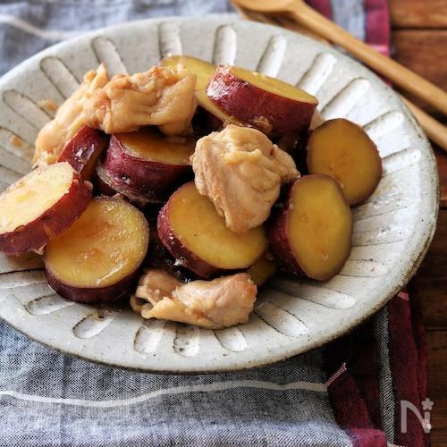 煮物 鶏肉 さつまいも 秋冬レシピC昼食 鶏肉とさつまいもの煮物/バンサンスー/ご飯