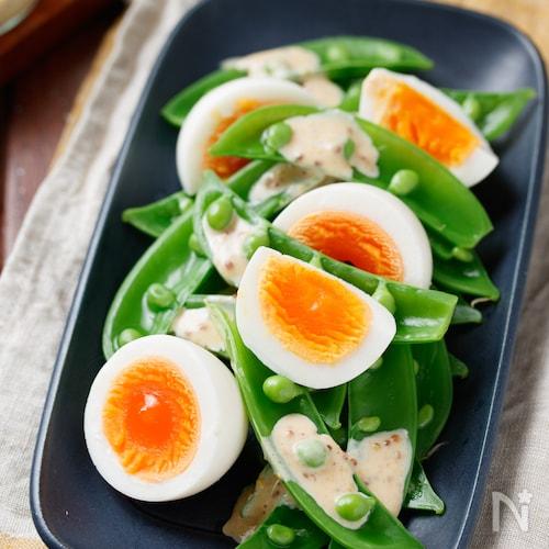 スナップエンドウと卵のデリ風サラダ【#簡単#同時調理】