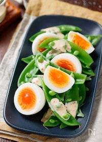 『スナップエンドウと卵のデリ風サラダ【#簡単#同時調理】』