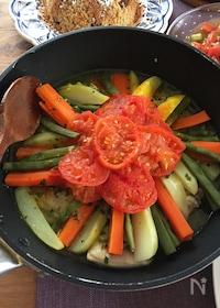 『フライパンで!鶏肉と野菜のタジン風蒸し煮』