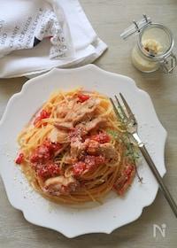 『チキンのトマト煮込みパスタ』