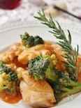 鶏肉とブロッコリーのトマトチーズ煮