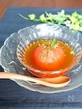 丸ごとトマトの冷製和風スープ