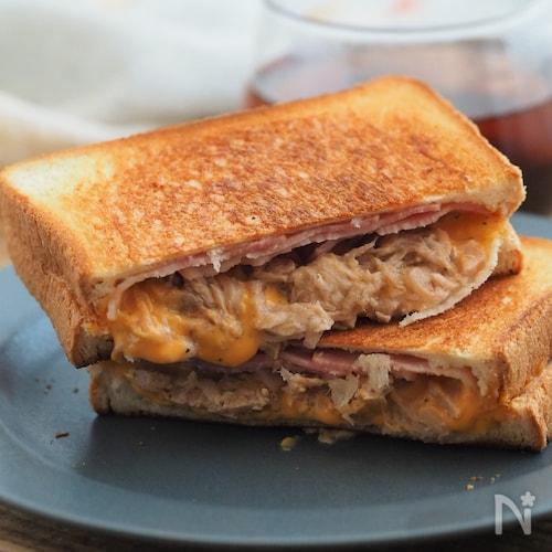【失敗なし!】ツナとチーズのフライパンホットサンド