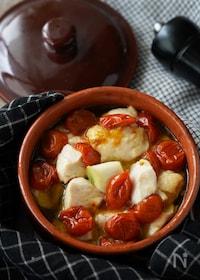 『パスタやパンに♪鶏むね肉とセミドライトマトのアヒージョ』