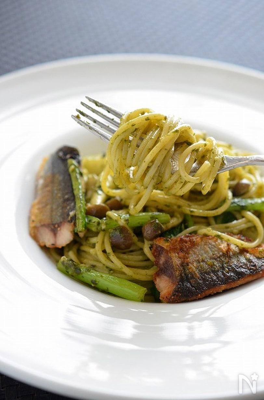 秋刀魚のジェノベーゼスパゲティ