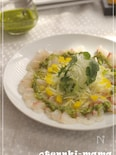 パクチーとピーナッツのソースで食べる鯛のパクチーカルパッチョ
