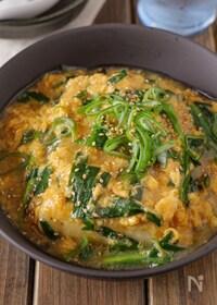 『【ごま油香る】ふわふわ卵のあんかけニラ豆腐 #ご飯が進む』