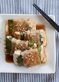 『豆腐と大葉の豚バラ巻き』