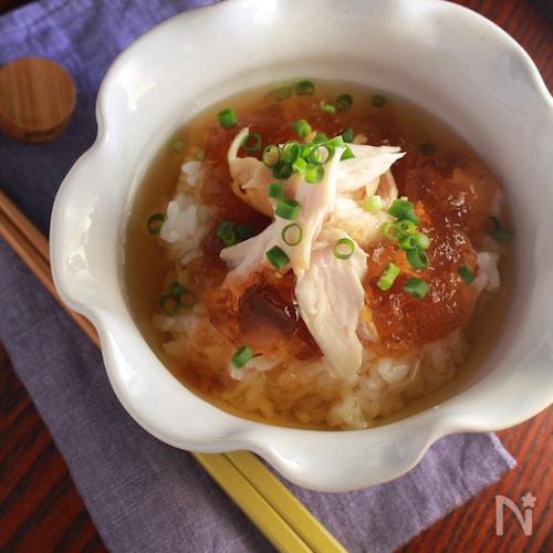 鶏 煮こごり風 冷やし茶漬け。