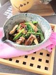 甘醤油のカリカリお揚げと小松菜炒め