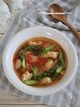 サラダチキンで時短!アスパラとチキンのスープ