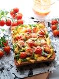 ミニトマトたっぷりのピザトースト