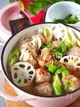 【これ1品でOKおかずスープ】白菜とれんこん団子おかずスープ