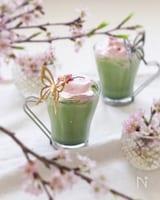 基本の抹茶ラテ桜ホイップをのせて♡