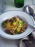 アボカドと豚ひき肉のスパゲッティ