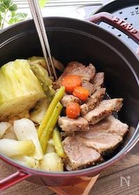『【STAUB】塩豚と野菜たっぷり無水調理』