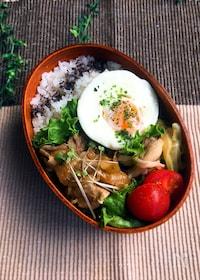 『【15分弁当】☆豚肉のカレー風味生姜焼きとレンチン・ゆで卵』