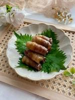 お弁当にもおすすめ〜な豚バラ肉のくるくるしそ巻き