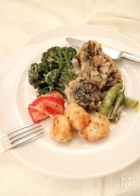 『ホタテと舞茸と彩野菜のフリット』
