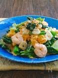 小松菜とむき海老とふんわり卵の旨塩にんにく炒め