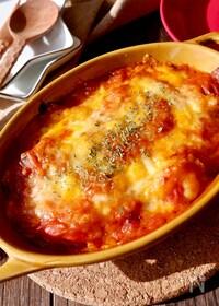 『トマトジュースで作る♪とろとろトマトシーフードグラタン』
