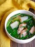 手羽中とネギとニラのスープ