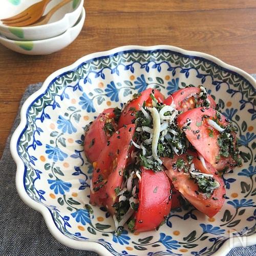 火を使わず♪夏さっぱり☆トマトと青じそのじゃこサラダ