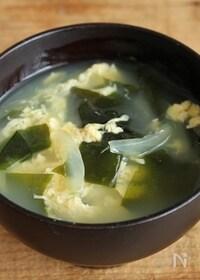 『簡単!ワカメと玉ねぎ入り玉子スープ  』