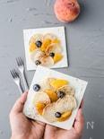 桃ソテーとプチパンケーキ