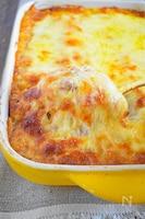 ポテトとトマトとひき肉のチーズ焼き