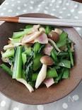 スピード料理☆小松菜とベーコンとしめじのガーリック炒め
