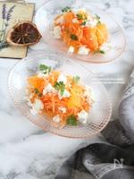 牛乳で手作りカッテージチーズとオレンジのにんじんサラダ